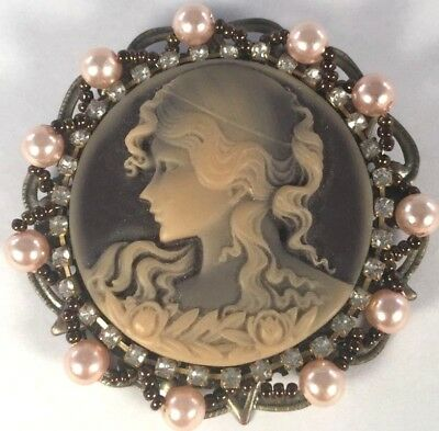 Vintage Art Deco Inspired Bronze Pearl Bead Rhinestone Frame Cameo Brooch Pin