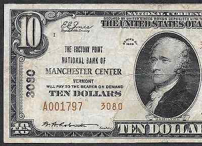 $10 1929  Type-Two ❀❀ Manchester Center, Vermont ❀❀ The Factory Point Nb