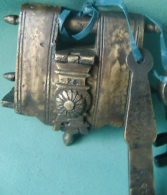 Rare Old Brass Handcrafted Beautiful Carving Tricky Door Pad Lock From India