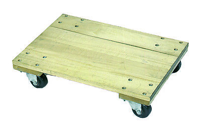 "Wesco 272053 Wood Solid Platform Dolly with 3"" Casters, 900lb Capacity"