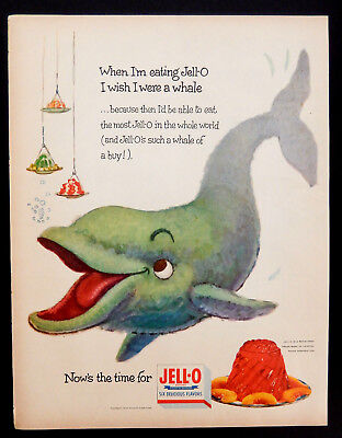 Vintage 1954 Jello Jell-o Whale of a buy advertisement print ad art
