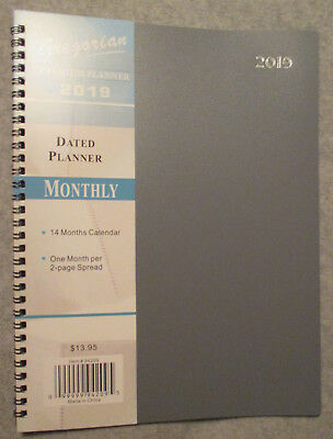 2019 Premium GRAY THIN 11X8.5 MONTHLY Calendar  APPOINTMENT BOOK PLANNER  SALE