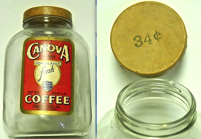 Canova Foods Coffee Label Jar With Wwii Cardboard Cap, Memphis, Tenn.