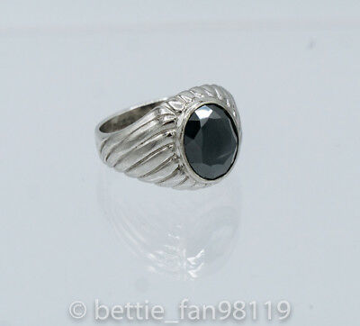 Vintage Men's Sterling Silver Hematite Gentleman's Ring