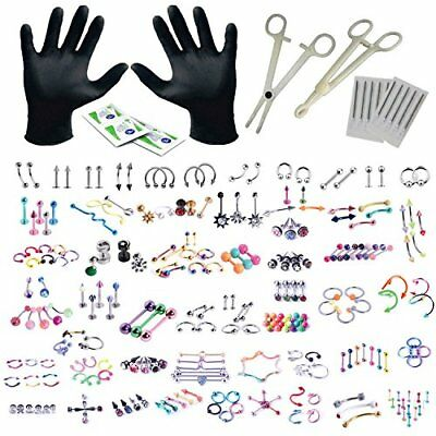 BodyJ4You 156PC Body Piercing Kit Lot 14G 16G Belly Ring Labret Tongue Tragus RA
