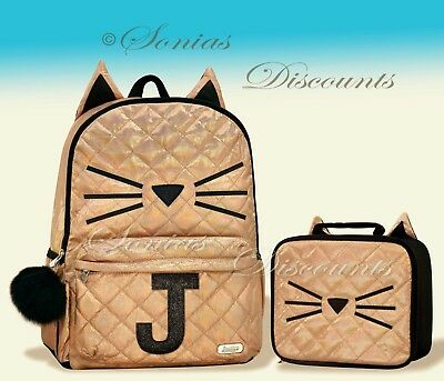 """Justice Initial """"J"""" Gold CAT Quilted Backpack+Lunch Tote Set-NWT-Simply Elegant!"""