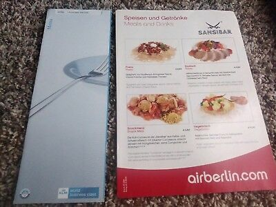 Assorted menus from international airlines