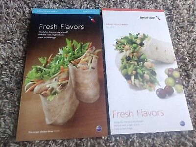Assorted menus from US airlines