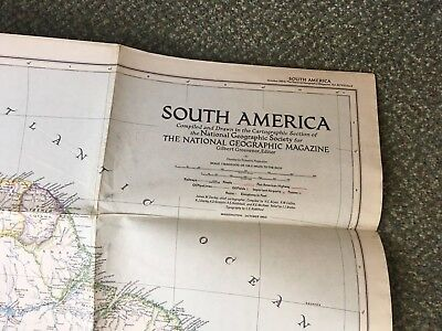 Vintage National Geographic Map - South America (1950)