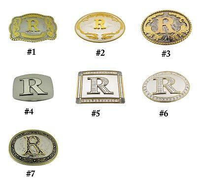 Initial R Belt Buckle Monogram Letter Alphabet Cowboy cowgirl rodeo western New