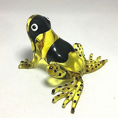 Miniature Hand Blown Glass Yellow Frog  Collectible Animals Figurine Amphibian M