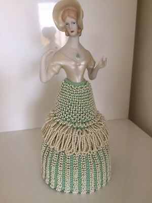 "Porcelain Half Doll with Beaded Skirt - ""Beatrice"""