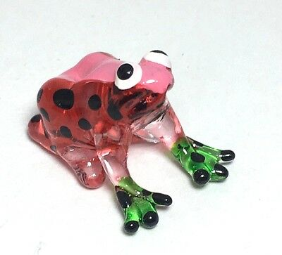 Miniature Hand Blown Glass Frog Red Collectible Art Animal Figurine Amphibian TR