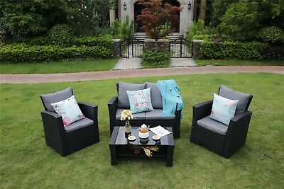 Outdoors 4 Seater Rattan Garden Furniture Set Table Chairs Black Free Delivery