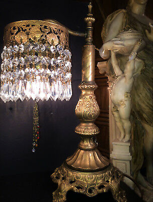 FINE ANTIQUE FRENCH GILT BRONZE TABLE OR DESK LAMP W/ CUT CRYSTALS! c.1915