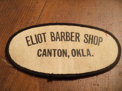 Vintage patch, ELIOT BARBER SHOP, Canton Oklahoma, Advertising Patch