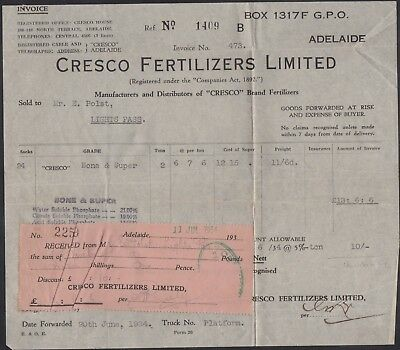 Australia 1934 Cresco Fertilizers invoice & receipt