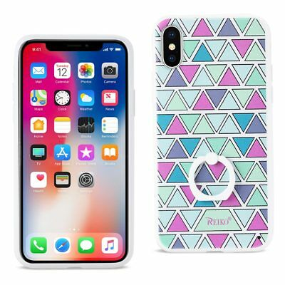 Reiko Iphone X Triangle Pattern Tpu Case With Rotating Ring Stand Holder