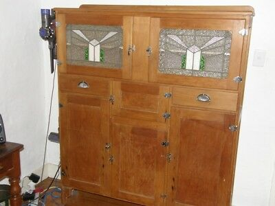 Art Deco Kitchen Cabinet with leadlight doors restored