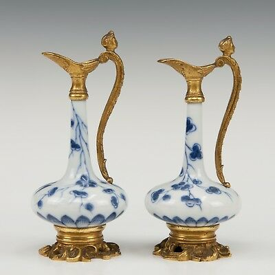 Nice pair of Chinese B&W porcelain vases 18th ct, Kangxi period,mounted as jugs.