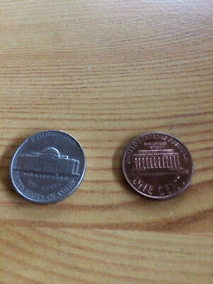 Münze USA United States of America 5 Cent 1964 und 1 Cent 2002