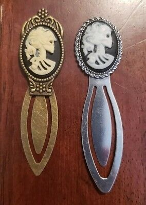 Choice Antique Bronze or silver Cameo Small Bookmark- Skeleton Day of Dead Lady