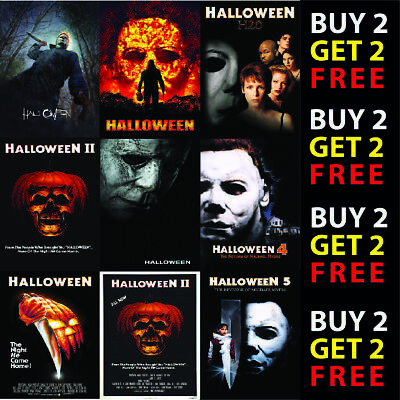 HALLOWEEN FRANCHISE HORROR MOVIE FILM POSTERS - A4 - A3 Prints 300gsm Paper/Card
