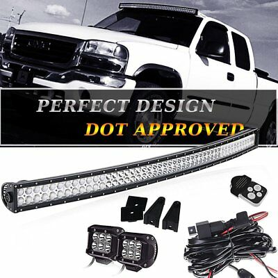 For 04-14 Ford F150 50'' Curved Offroad LED Light Bar Combo+Fog Pods+Wiring Kit