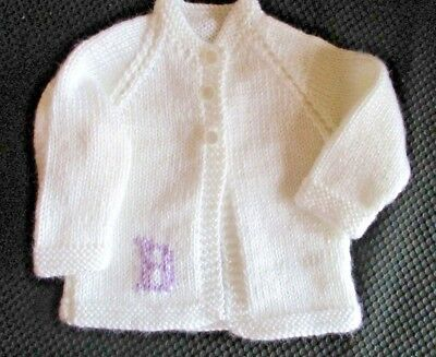 BABY JACKET  Hand Knitted  0-6 months  WHITE with  CUSTOM  order  MONOGRAM
