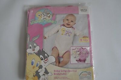 Bnwt Size 0-2 Months Looney Tunes Baby Girl Pack Of 2 Pink Long Sleeve Bodysuits