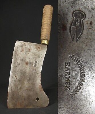 ANTIQUE MEAT CLEAVER large OLD BUTCHER KNIFE vintage GERMAN J Bunger Sohn Barmen