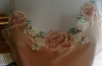 Marjolaine Camisole 100% Silk Oyster Pink, Pink, White, Blue Flower embroidery