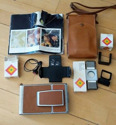 Polaroid SX70 Camera With Leather Case And Accessories