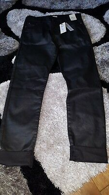 Girls RIVER island Age 12 Leather Look Alike Jeans