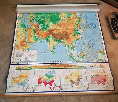 Vintage Pull Down Nystrom School Map ASIA Japan China USSR India Korea Europe+