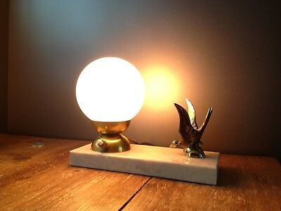 French Art Deco Desk Lamp Light Swallow Bird Brass Marble Sphere Glass Shade