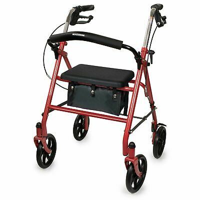 McKesson Rollator Steel 300 lbs. 31 to 37 Inch Handle Height 146-10257RD-1 Red