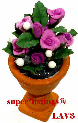 Dept. 56 Seasons Bay Potted Flowers Lavender Roses New 53331 LV3 Free Shipping
