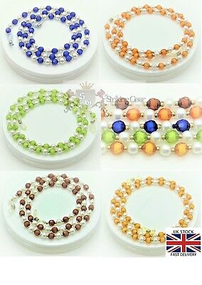 Glasses Retainer Neckless Strap Two Colours & Gold Detail Beads Design SG-UK
