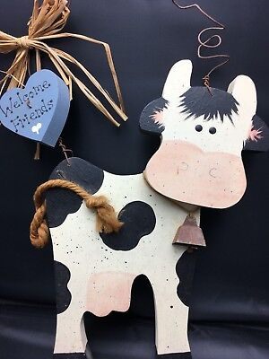 """Handmade Wooden Cow Door Wall Hanging """"Welcome Friends"""" Sign Country Style"""