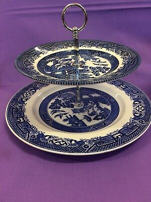 Willow Pattern Blue Plate, Cake Stand