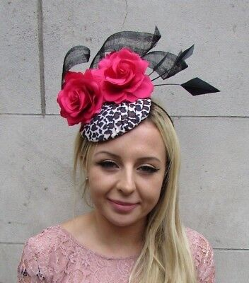 Leopard Print Black Hot Pink Rose Flower Feather Hat Fascinator Races 1950s 6253