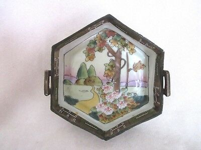 Antique Japanese Hand Painted Art Deco Porcelain Dish ca: 1920's Marked