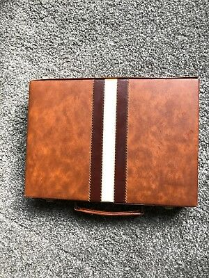 Backgammon Game In Leather Case Vintage