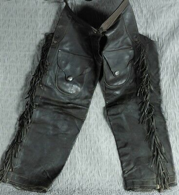 Antique Vintage Signed & Dated 1910 Leather Cowboy Chaps w/ Fringe