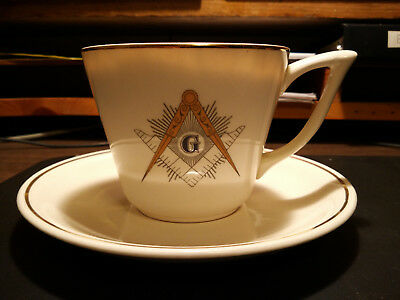 Vintage Large Anniversay Masonic Cup and Saucer 1957