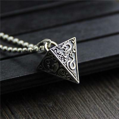 Ancient Pyramid Sterling Silver 925 Thai Silver Men Religious Pendant Necklace