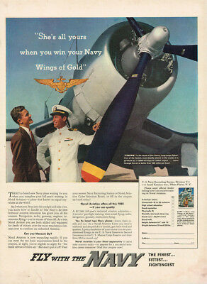 """1942 Navy """"wings Of Gold"""" Wwii Vintage Original Laminated Ad Art"""