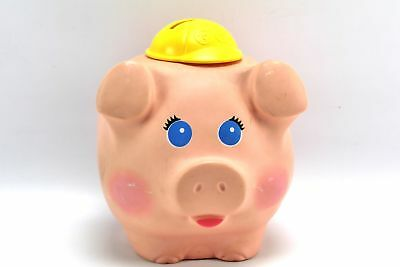 Vintage 1980 Quaker Oats Fisher Price Coin Piggy Bank with Hard Hat