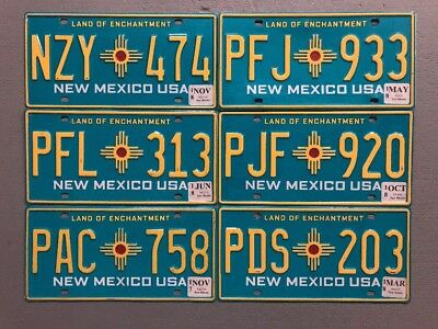 One New Mexico Turquoise Zia License Plate Random Letters/numbers